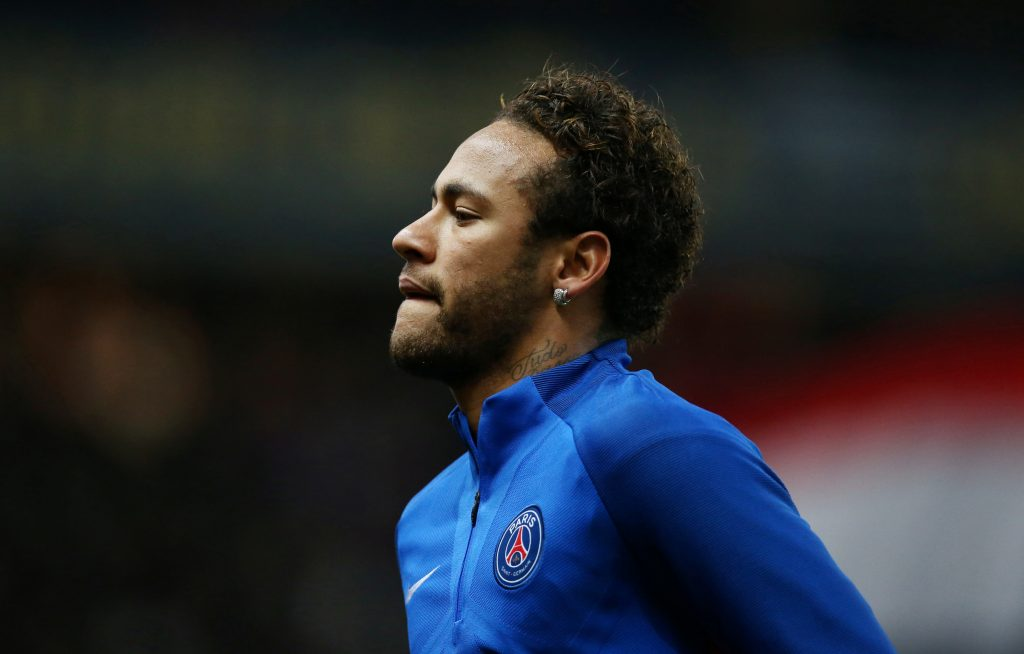 Paris Saint-Germain's Neymar warms up before the match.