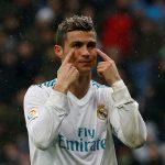 Real Madrid's Cristiano Ronaldo reacts.