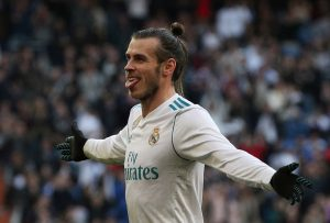 Real Madrid's Gareth Bale celebrates scoring their second goal.