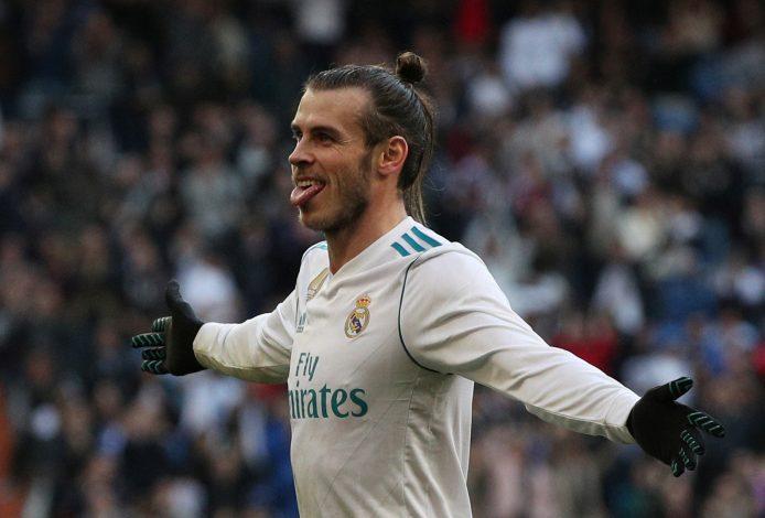 Real Madrid's Gareth Bale celebrates scoring their second goal.