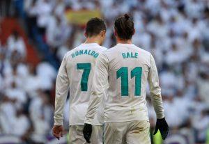 Real Madrid's Gareth Bale celebrates scoring their second goal with Cristiano Ronaldo.