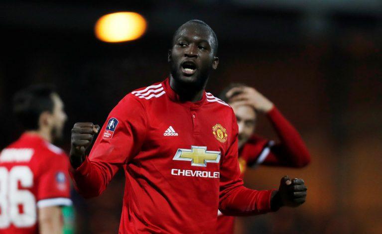 Manchester United's Romelu Lukaku celebrates scoring their fourth goal.