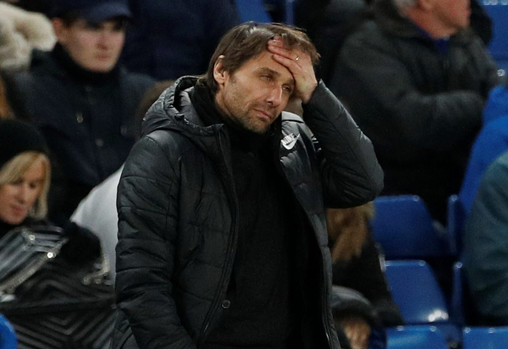 Chelsea manager Antonio Conte looks dejected.