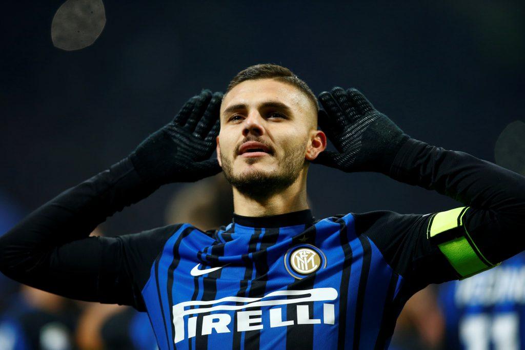 Inter Milan's Mauro Icardi celebrates scoring their second goal.