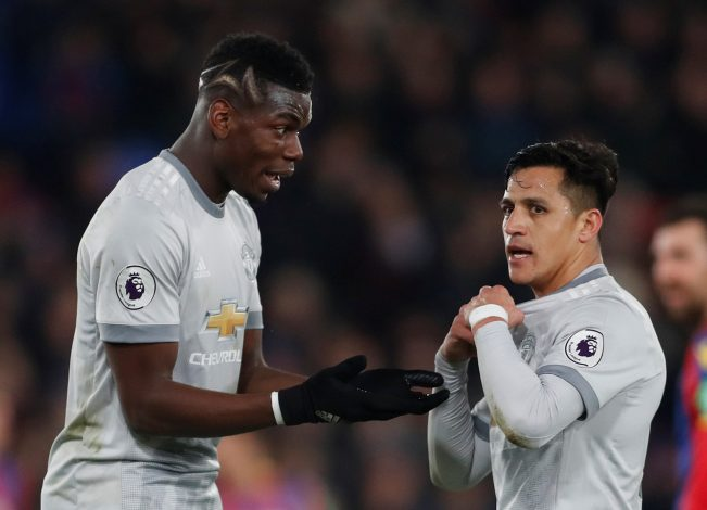 Manchester United's Paul Pogba and Alexis Sanchez.