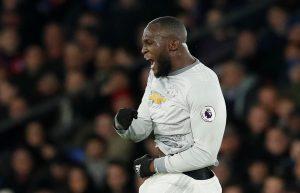Manchester United's Romelu Lukaku celebrates scoring their second goal.