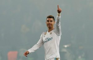 Real Madrid's Cristiano Ronaldo celebrates scoring their first goal.