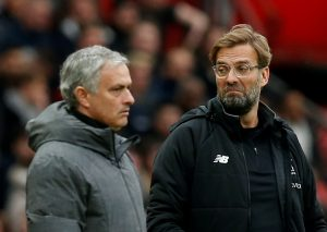Liverpool manager Juergen Klopp with Manchester United manager Jose Mourinho.