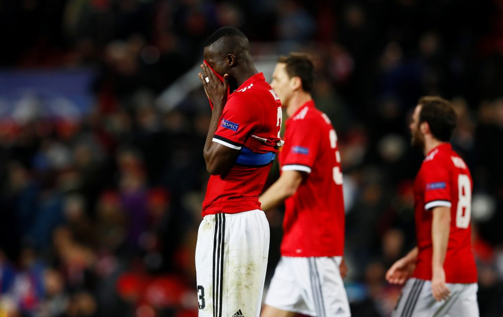 Manchester United's Eric Bailly looks dejected after the match.