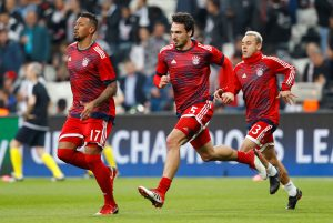 Bayern Munich's Jerome Boateng, Mats Hummels and Rafinha during the warm up before the match.