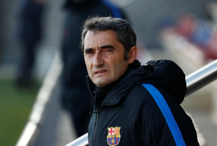 Barcelona coach Ernesto Valverde during training.
