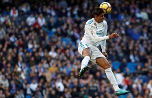 Real Madrid's Raphael Varane in action.
