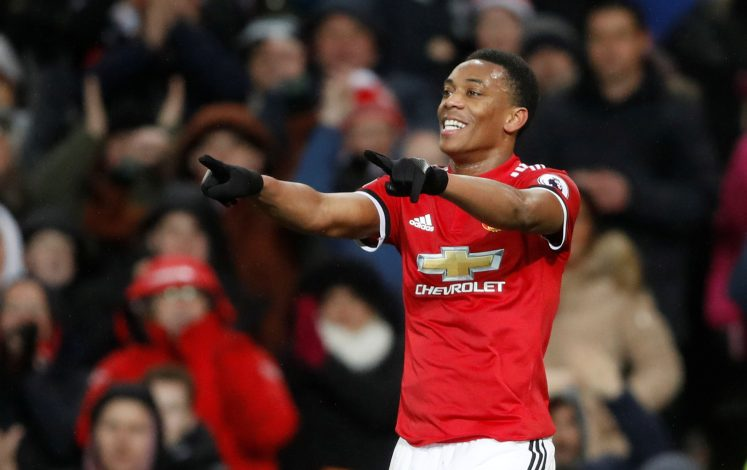 Manchester United's Anthony Martial celebrates scoring their second goal.