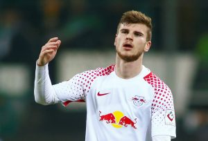 RB Leipzig's Timo Werner reacts.