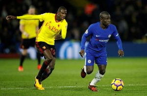Chelsea's N'Golo Kante in action with Watford's Abdoulaye Doucoure.