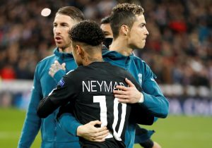 Real Madrid's Cristiano Ronaldo and Paris Saint-Germain's Neymar before the match.