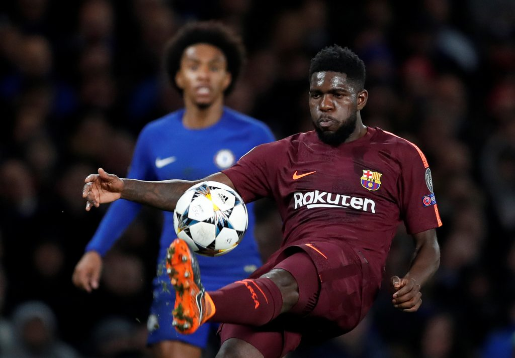 Barcelona's Samuel Umtiti in action.