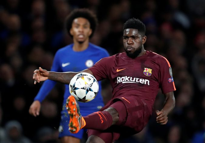 Barcelona's Samuel Umtiti in action.