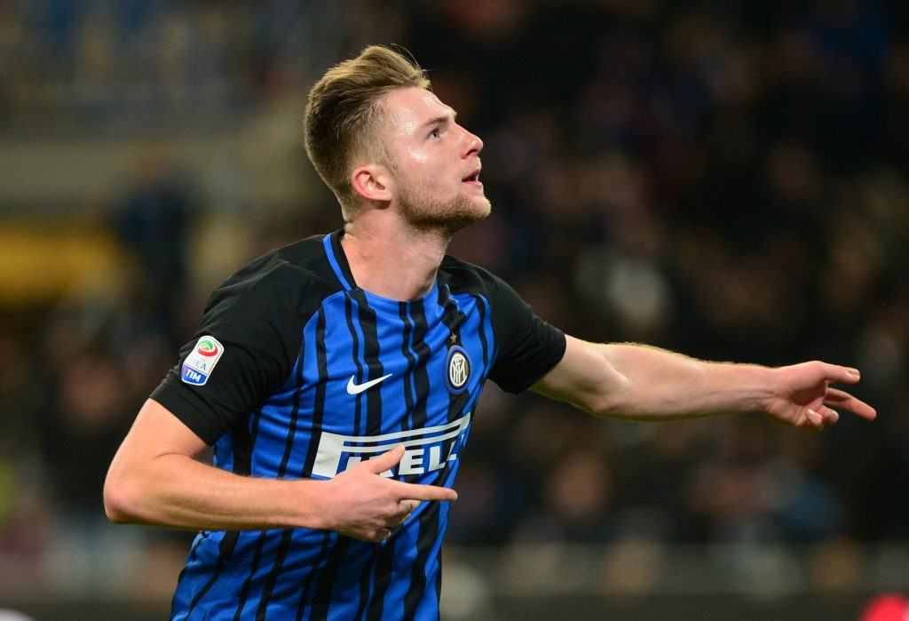 Inter Milan's Milan Skriniar ccelebrates scoring their first goal.
