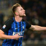 Inter Milan's Milan Skriniar ccelebrates scoring their first goal.