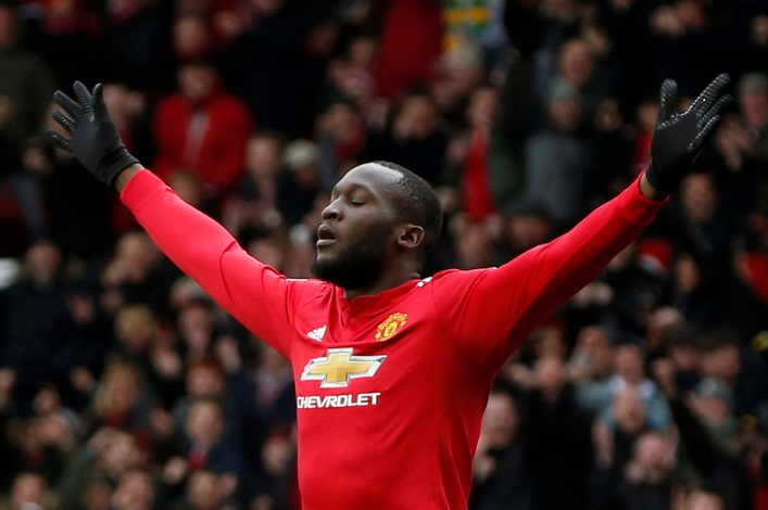 Manchester United's Romelu Lukaku celebrates scoring their first goal.