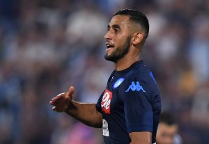 Napoli's Faouzi Ghoulam celebrates scoring their third goal.