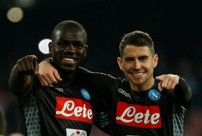 Napoli's Kalidou Koulibaly and Jorginho (R) celebrate after the match.