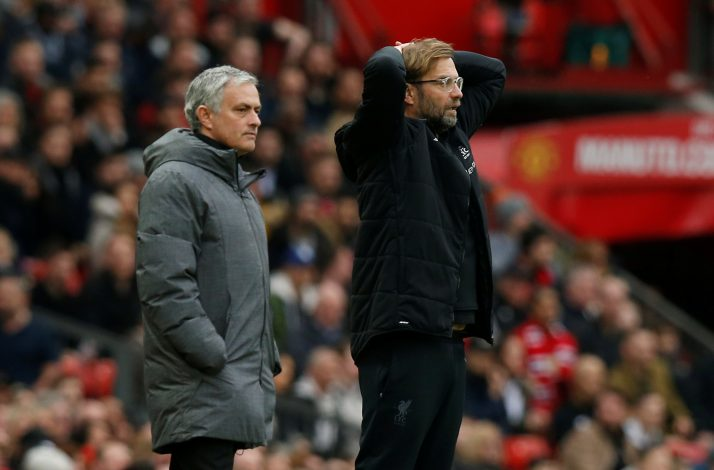 Manchester United manager Jose Mourinho and Liverpool manager Juergen Klopp.