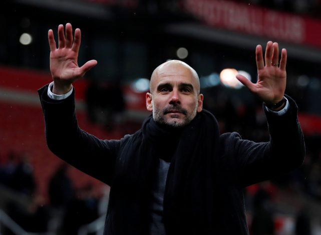 Pep Guardiola gestures after the match.