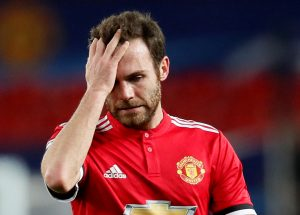 Juan Mata looks dejected after the match.