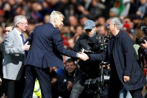 Arsene Wenger, Jose Mourinho and Sir Alex Ferguson before the match.