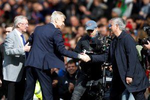 Arsene Wenger, Jose Mourinho and Sir Alex Ferguson before the match.