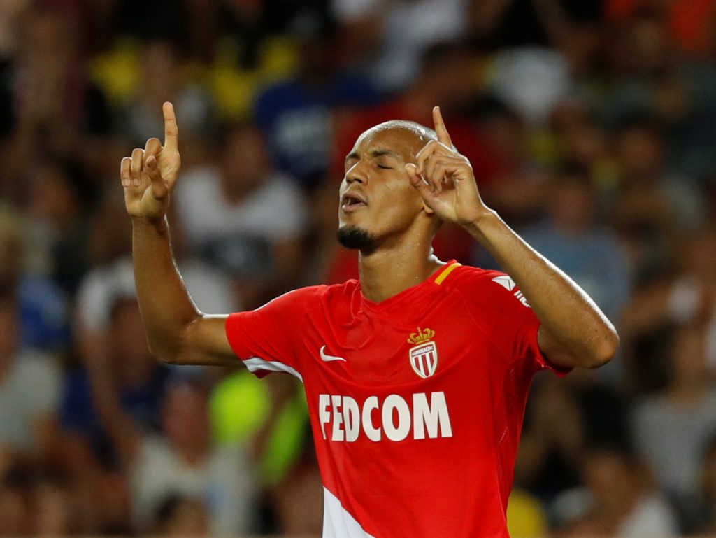 Monaco's Fabinho celebrates scoring their sixth goal from the penalty spot.