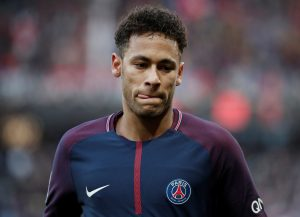 Paris Saint-Germain's Neymar looks on.