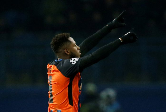 Shakhtar Donetsk's Fred celebrates scoring their second goal.