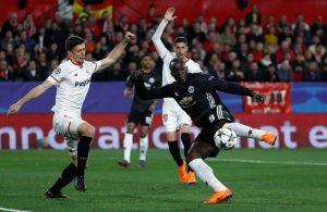 Romelu Lukaku in action with Sevilla's Clement Lenglet.