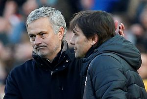 Jose Mourinho with Antonio Conte after the match.