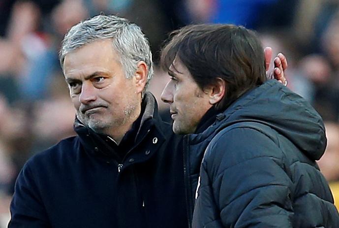 Jose Mourinho with Antonio Conte after the match.