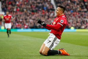 Manchester United's Alexis Sanchez celebrates scoring their second goal.
