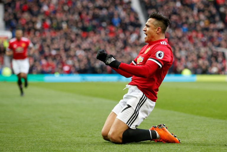 Manchester United's Alexis Sanchez celebrates scoring their second goal.