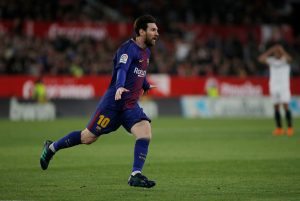 Barcelona's Lionel Messi celebrates scoring their second goal.