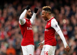 Arsenal's Alexandre Lacazette celebrates scoring their third goal with Pierre-Emerick Aubameyang.