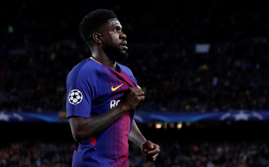 Barcelona's Samuel Umtiti celebrates their second goal.