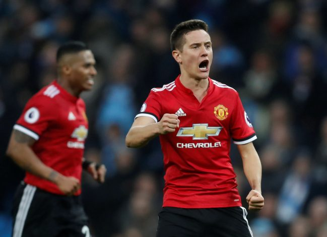 Ander Herrera celebrates after the match.