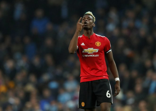 Paul Pogba celebrates after the match.