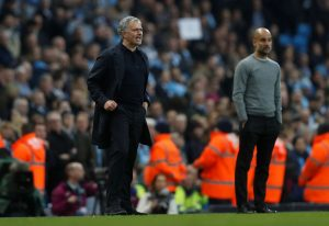 Manchester City manager Pep Guardiola and Manchester United manager Jose Mourinho.
