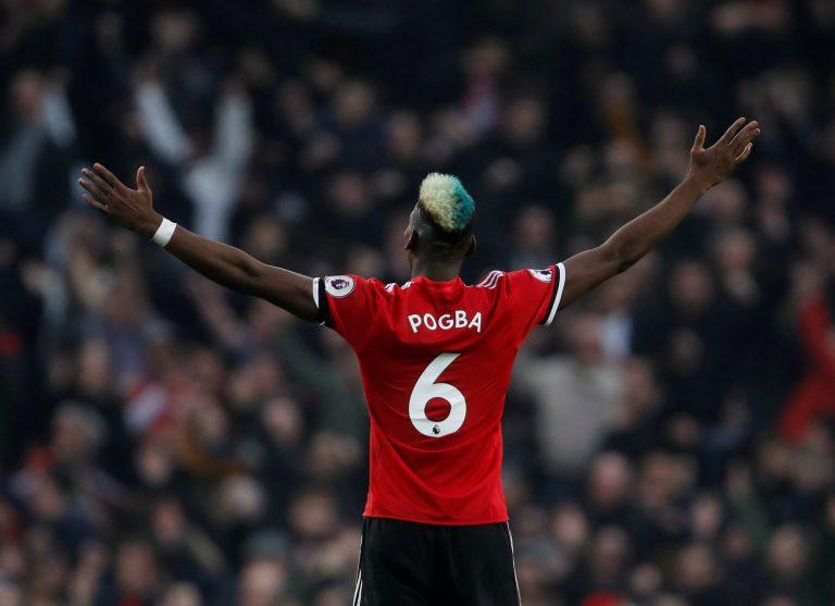 Manchester United's Paul Pogba celebrates.