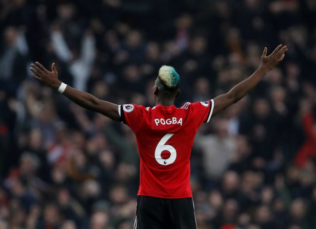 Manchester United's Paul Pogba celebrates.