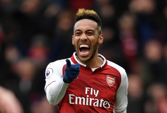 Arsenal's Pierre-Emerick Aubameyang celebrates scoring their first goal.