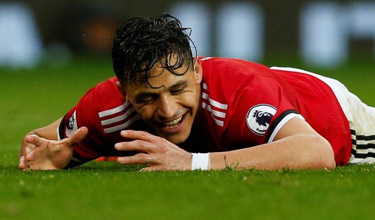 Manchester United's Alexis Sanchez reacts.